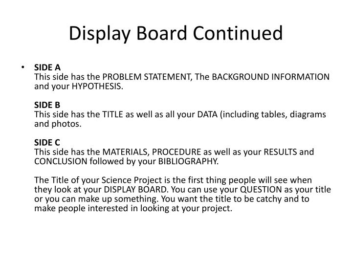 Display Board Continued