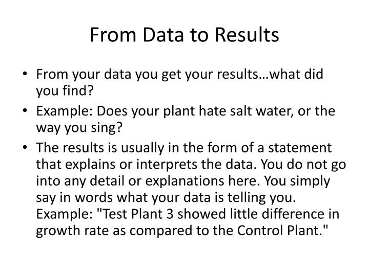 From Data to Results