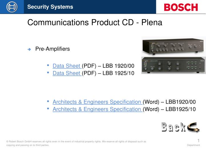 Communications product cd plena