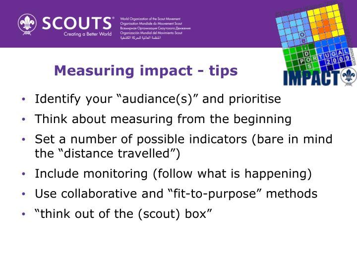 Measuring impact - tips