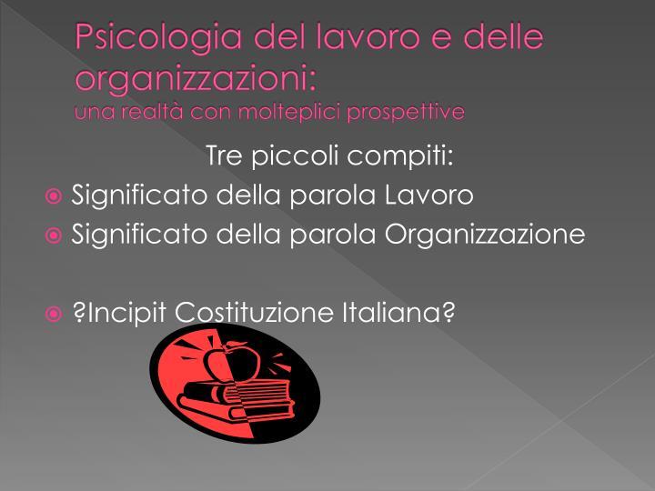 Psicologia del lavoro e delle organizzazioni: