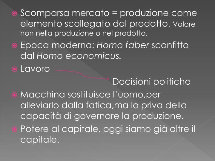 Scomparsa mercato = produzione come elemento scollegato dal prodotto.
