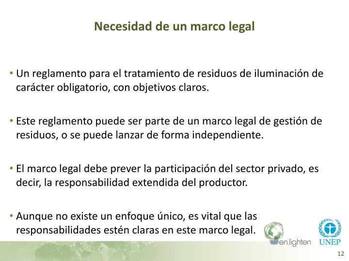 Necesidad de un marco legal