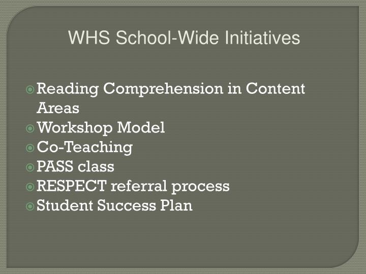 WHS School-Wide Initiatives