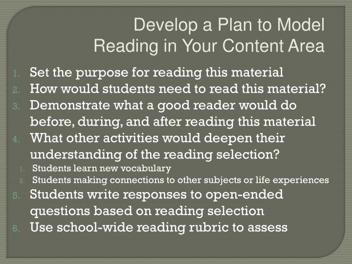 Develop a Plan to Model Reading in Your Content Area