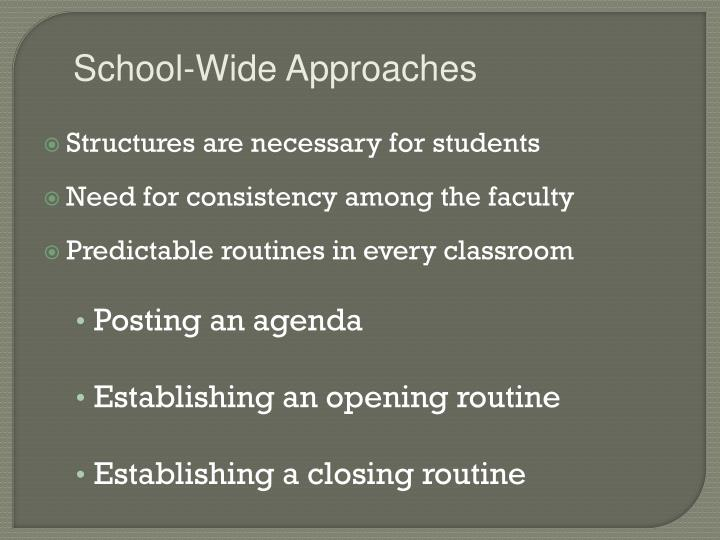 School-Wide Approaches