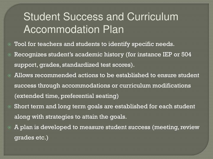Student Success and Curriculum Accommodation Plan