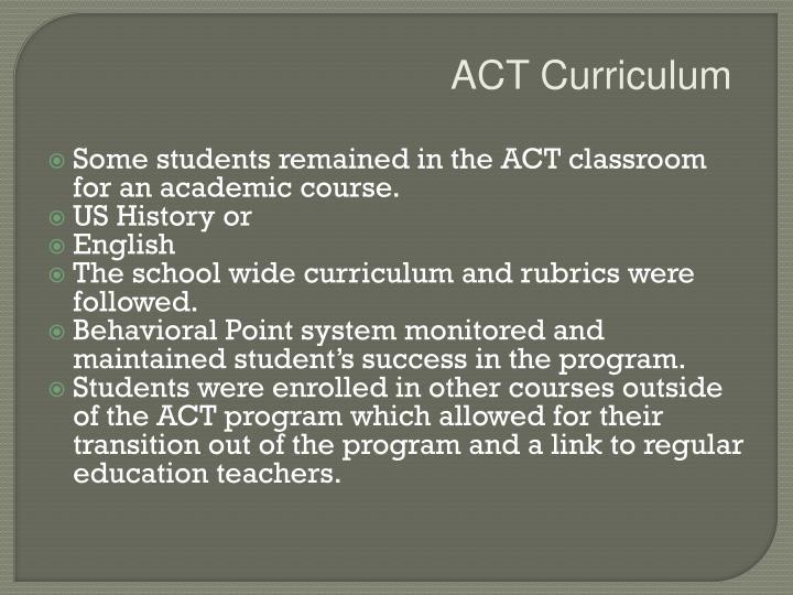 ACT Curriculum
