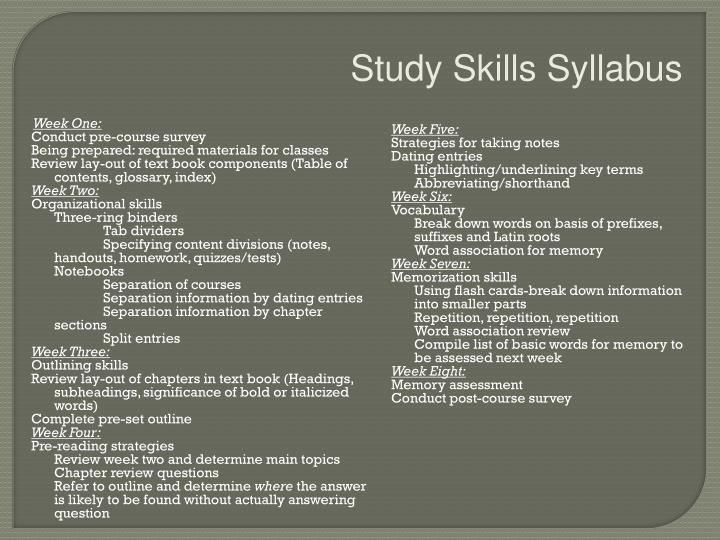 Study Skills Syllabus