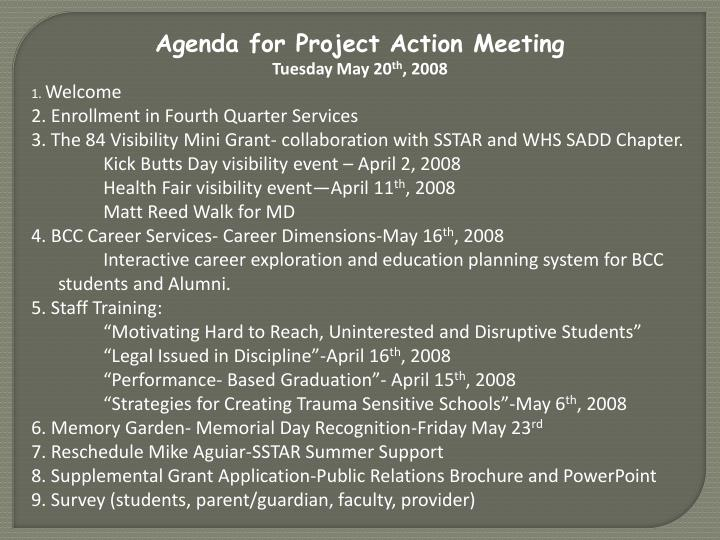 Agenda for Project Action Meeting