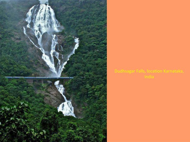 Dudhsagar Falls, location Karnataka, India