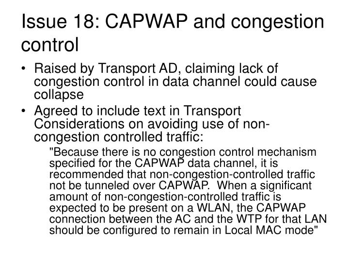 Issue 18: CAPWAP and congestion control
