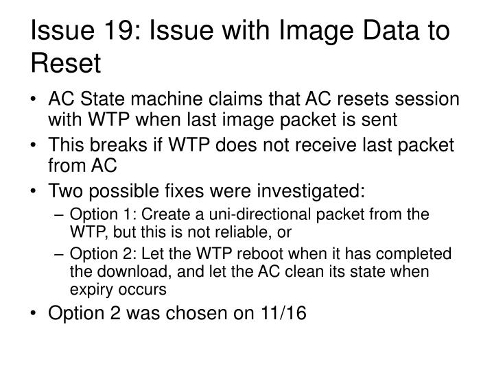 Issue 19: Issue with Image Data to Reset