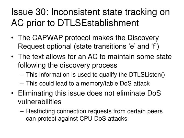 Issue 30: Inconsistent state tracking on AC prior to DTLSEstablishment