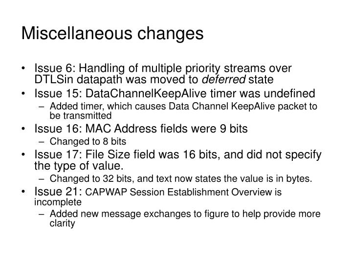 Miscellaneous changes