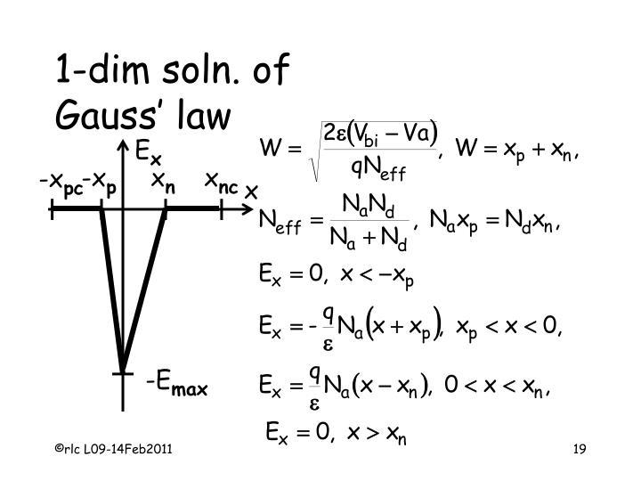 1-dim soln. of