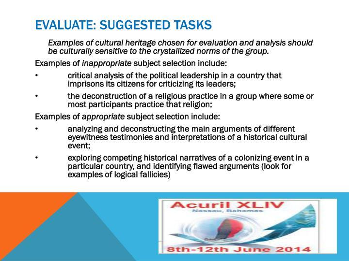 Evaluate: suggested tasks