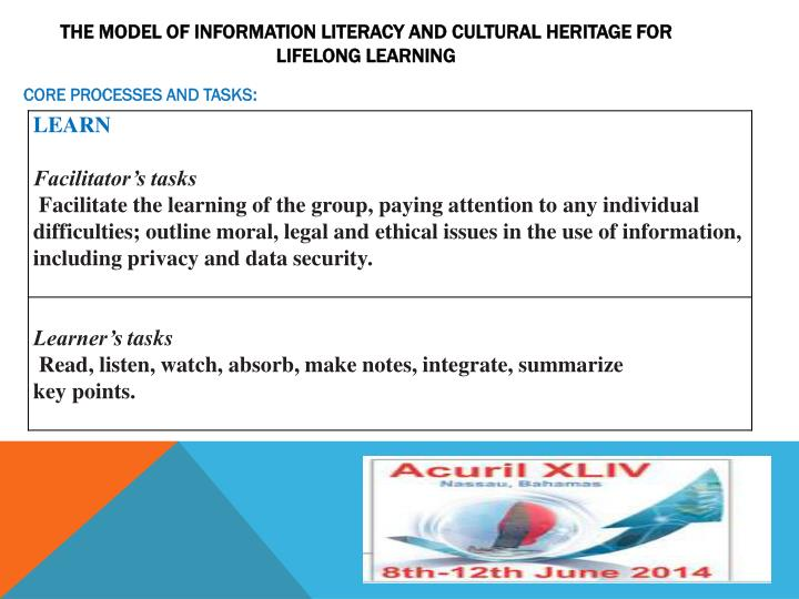 THE MODEL OF INFORMATION LITERACY AND CULTURAL HERITAGE FOR LIFELONG