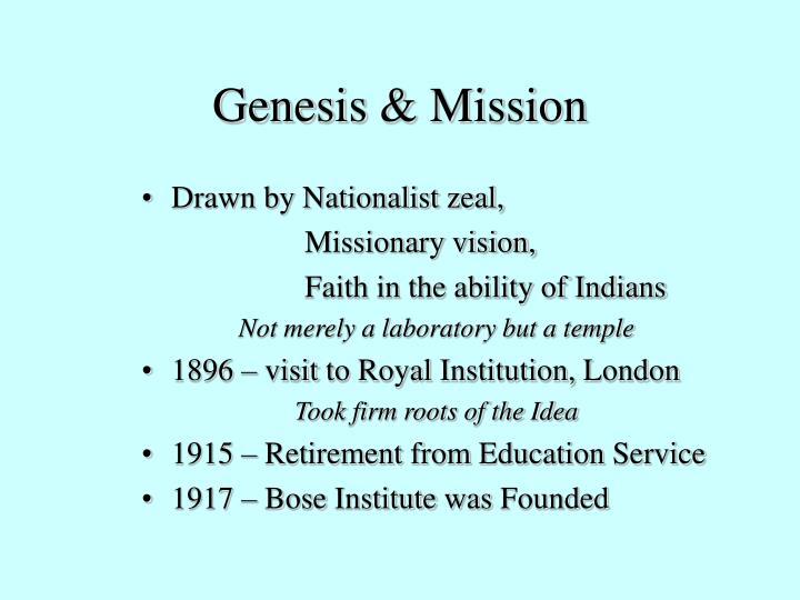 Genesis & Mission