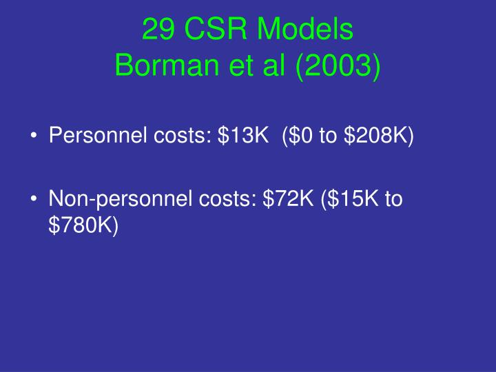 29 CSR Models