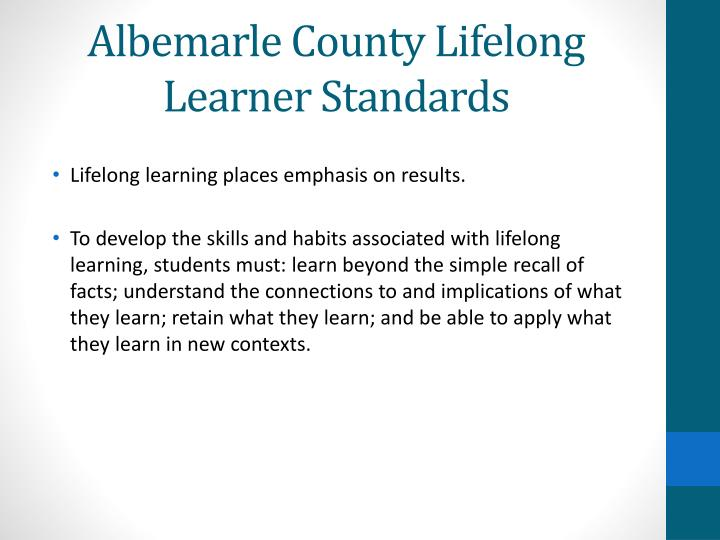 Albemarle county lifelong learner standards