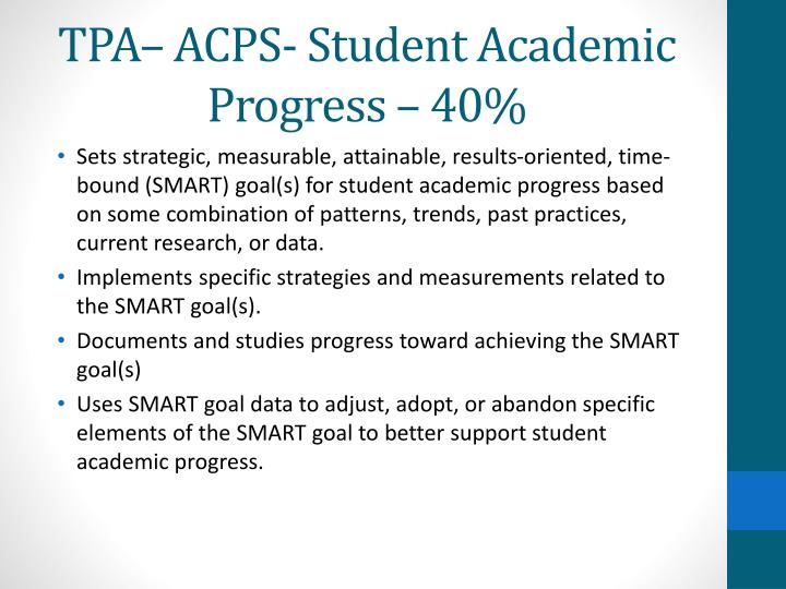 TPA– ACPS- Student Academic Progress – 40%