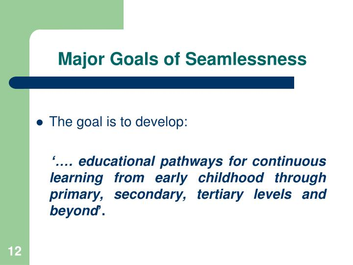 Major Goals of Seamlessness