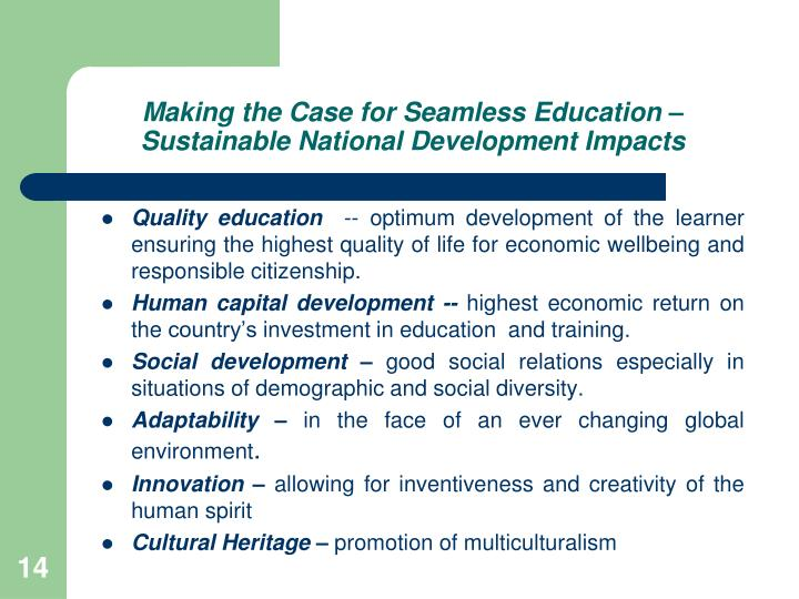 Making the Case for Seamless Education – Sustainable National Development Impacts