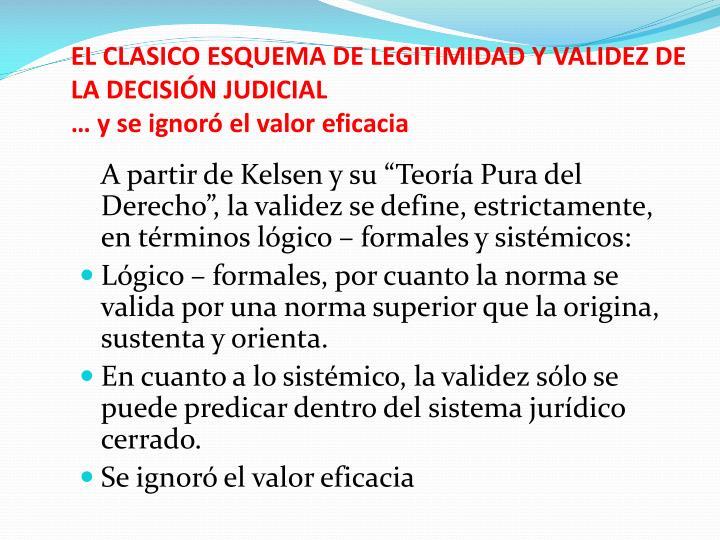 EL CLASICO ESQUEMA DE LEGITIMIDAD Y VALIDEZ DE LA DECISIÓN JUDICIAL