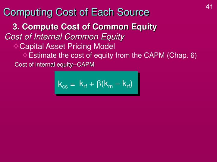 Computing Cost of Each Source