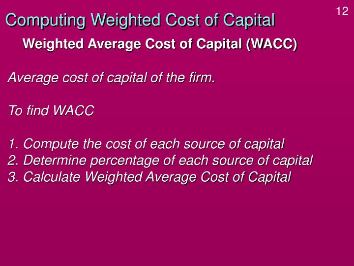 Computing Weighted Cost of Capital