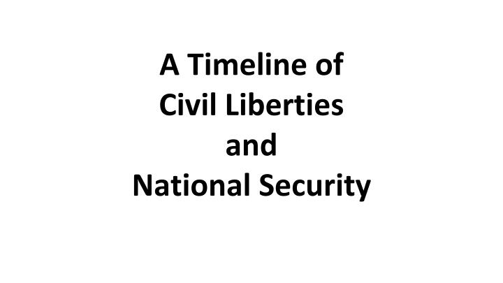 A timeline of civil liberties and national security