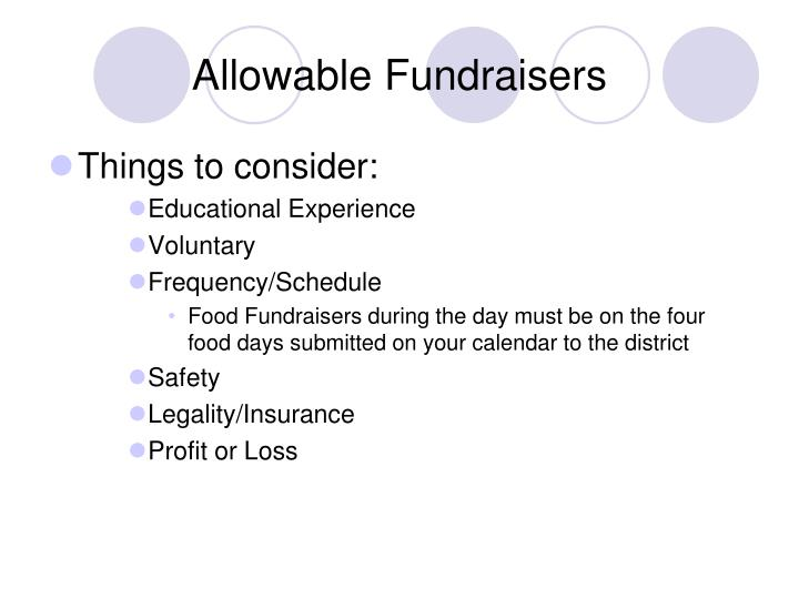 Allowable Fundraisers