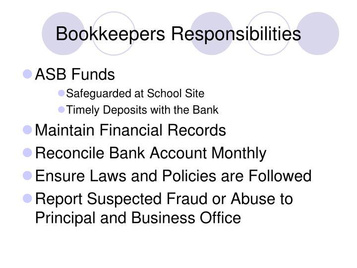 Bookkeepers Responsibilities