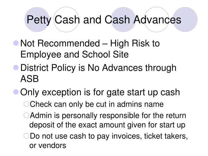 Petty Cash and Cash Advances
