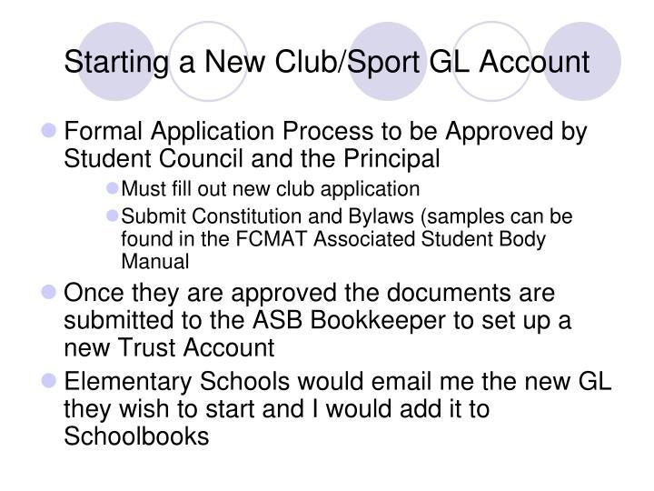 Starting a New Club/Sport GL Account