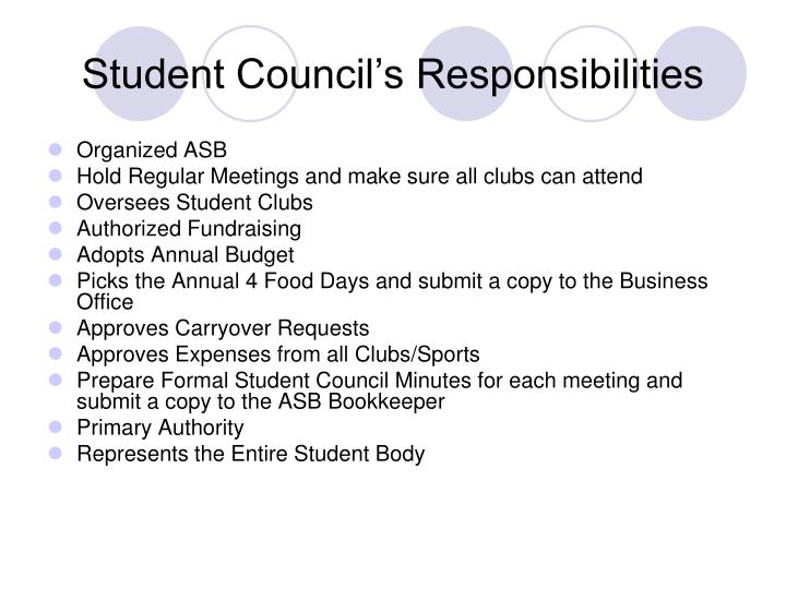 Student Council's Responsibilities