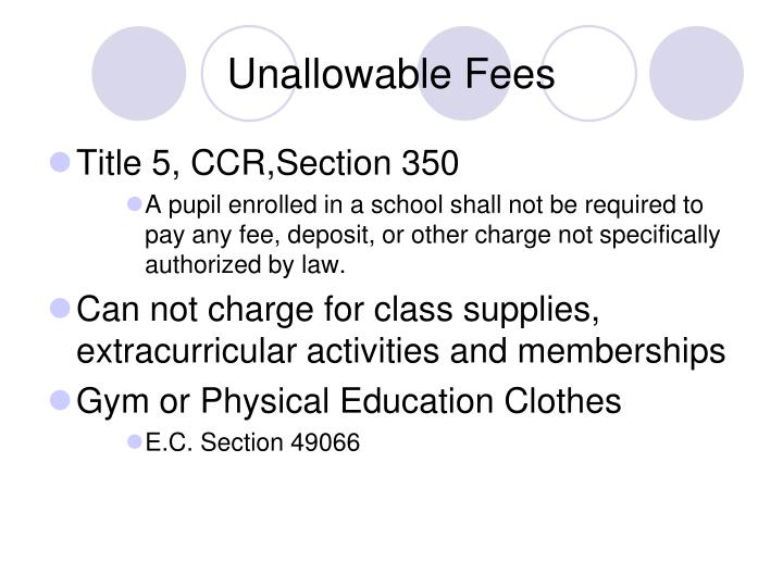 Unallowable Fees