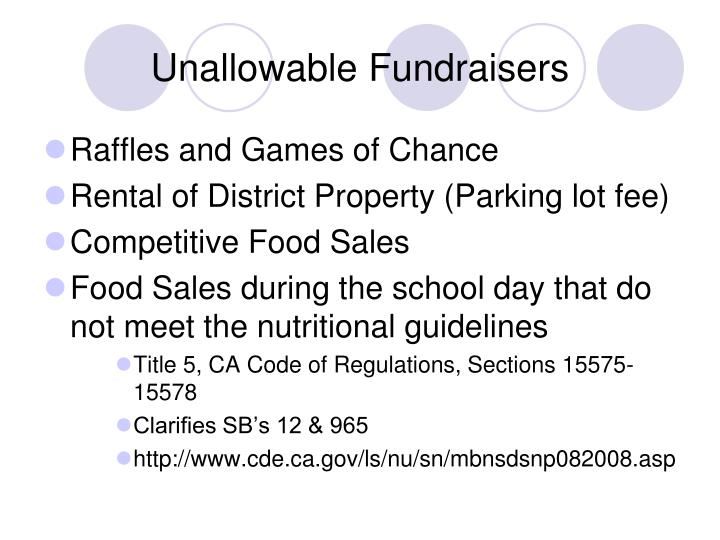 Unallowable Fundraisers