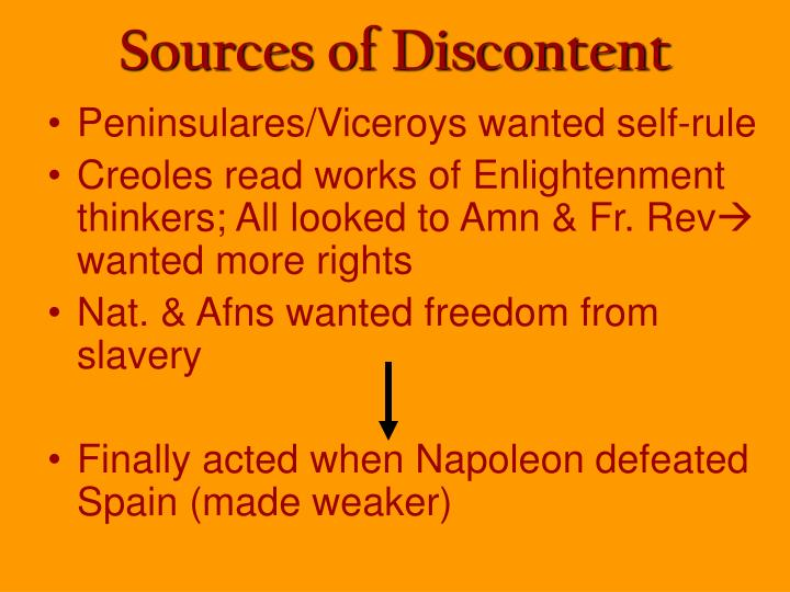 Sources of Discontent