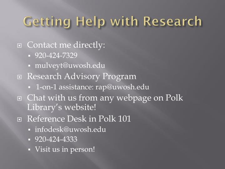 Getting Help with Research