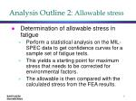 analysis outline 2 allowable stress