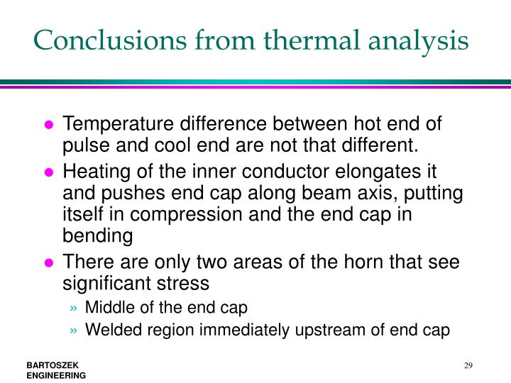 Conclusions from thermal analysis