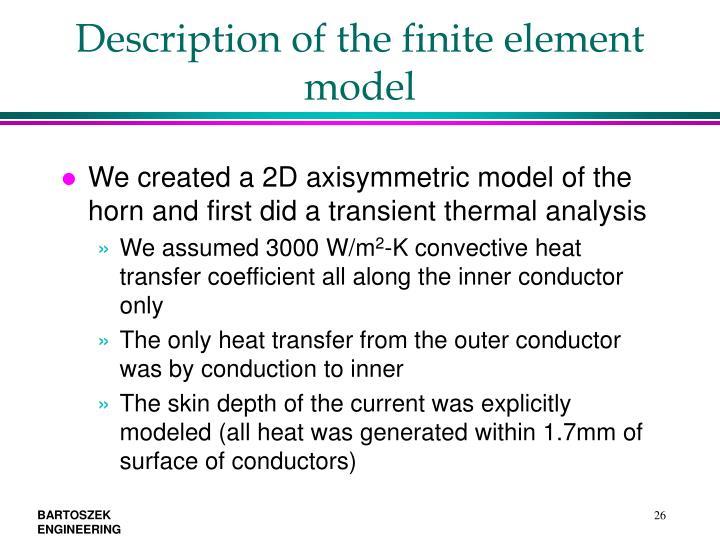 Description of the finite element model