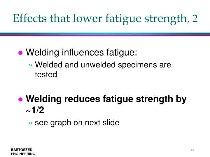 Effects that lower fatigue strength