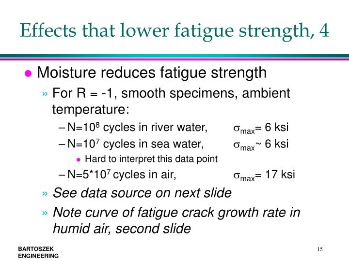 Effects that lower fatigue strength, 4