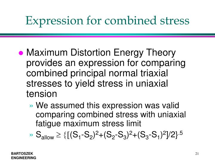 Expression for combined stress