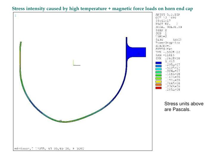 Stress intensity caused by high temperature + magnetic force loads on horn end cap