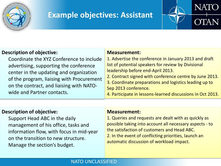 Example objectives: Assistant