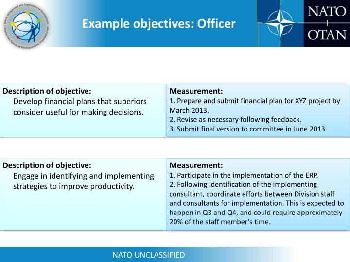 Example objectives: Officer